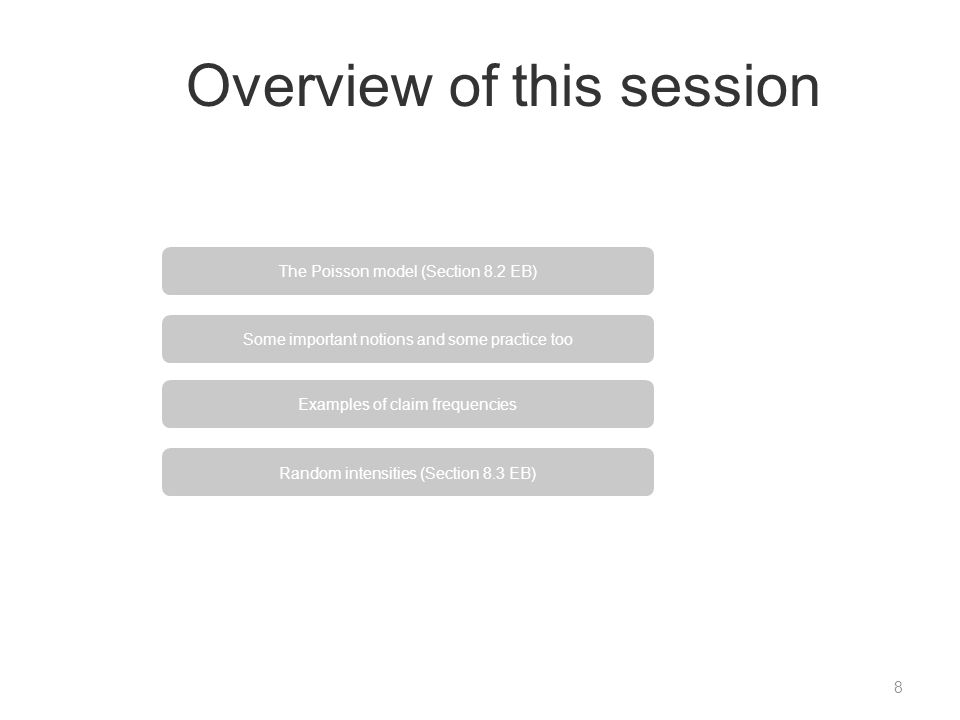 Overview of this session 8 Some important notions and some practice too Examples of claim frequencies Random intensities (Section 8.3 EB) The Poisson model (Section 8.2 EB)