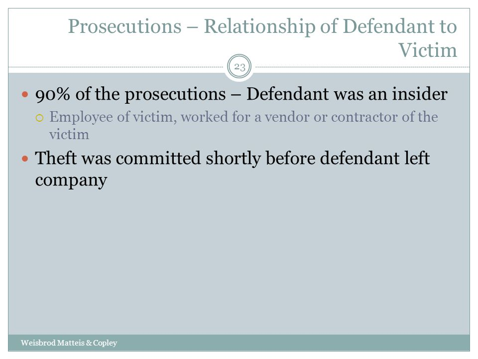 Prosecutions – Relationship of Defendant to Victim Weisbrod Matteis & Copley 23 90% of the prosecutions – Defendant was an insider  Employee of victim, worked for a vendor or contractor of the victim Theft was committed shortly before defendant left company