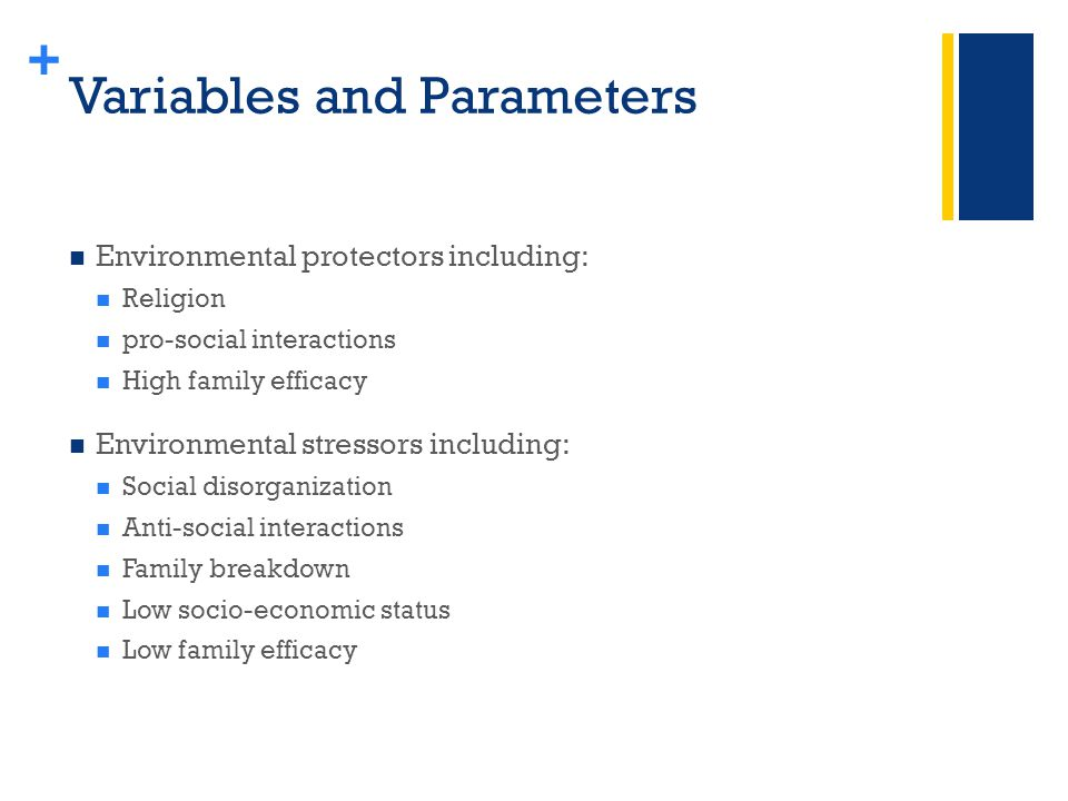 + Variables and Parameters Environmental protectors including: Religion pro-social interactions High family efficacy Environmental stressors including: Social disorganization Anti-social interactions Family breakdown Low socio-economic status Low family efficacy