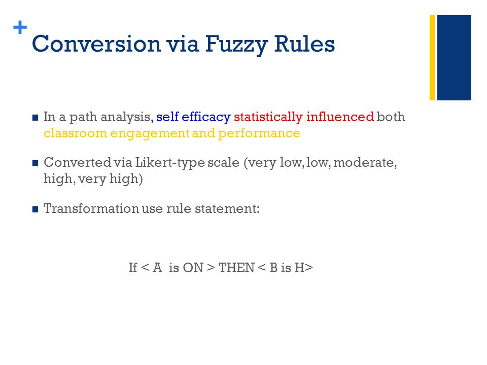 + Conversion via Fuzzy Rules In a path analysis, self efficacy statistically influenced both classroom engagement and performance Converted via Likert-type scale (very low, low, moderate, high, very high) Transformation use rule statement: If THEN