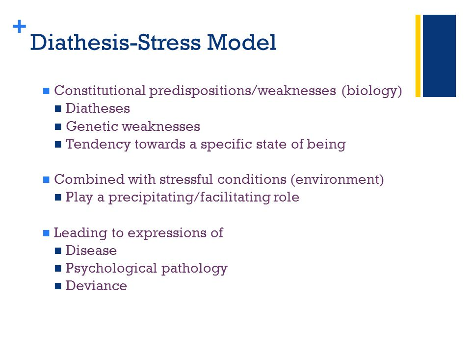 + Diathesis-Stress Model Constitutional predispositions/weaknesses (biology) Diatheses Genetic weaknesses Tendency towards a specific state of being Combined with stressful conditions (environment) Play a precipitating/facilitating role Leading to expressions of Disease Psychological pathology Deviance