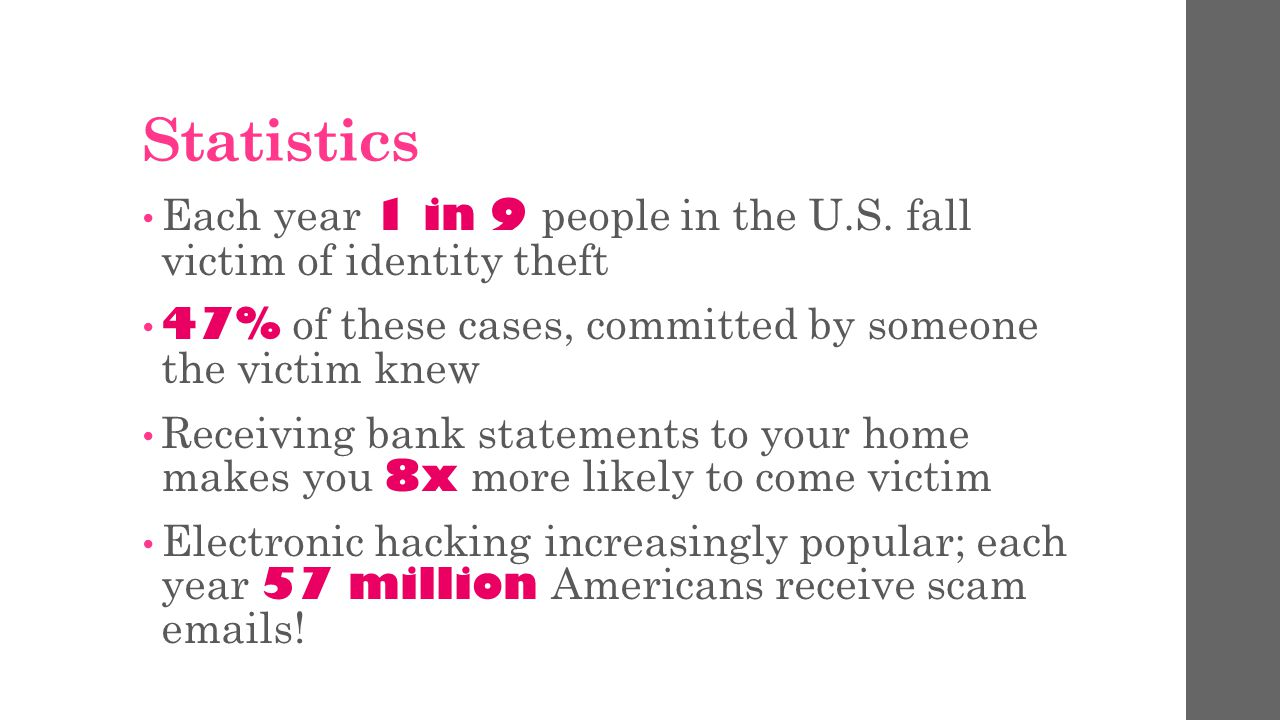 Statistics Each year 1 in 9 people in the U.S.