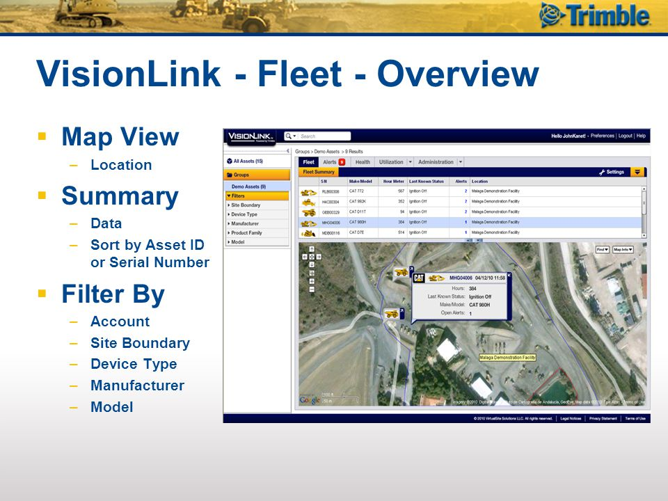 VisionLink - Fleet - Overview  Map View –Location  Summary –Data –Sort by Asset ID or Serial Number  Filter By –Account –Site Boundary –Device Type