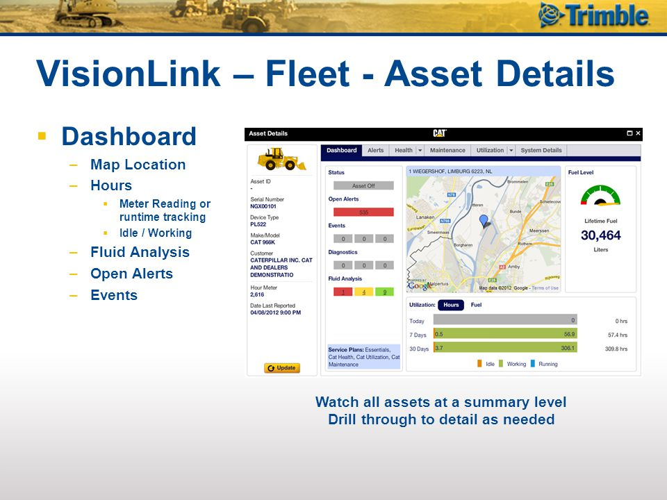 VisionLink – Fleet - Asset Details  Dashboard –Map Location –Hours  Meter Reading or runtime tracking  Idle / Working –Fluid Analysis –Open Alerts –Events Watch all assets at a summary level Drill through to detail as needed