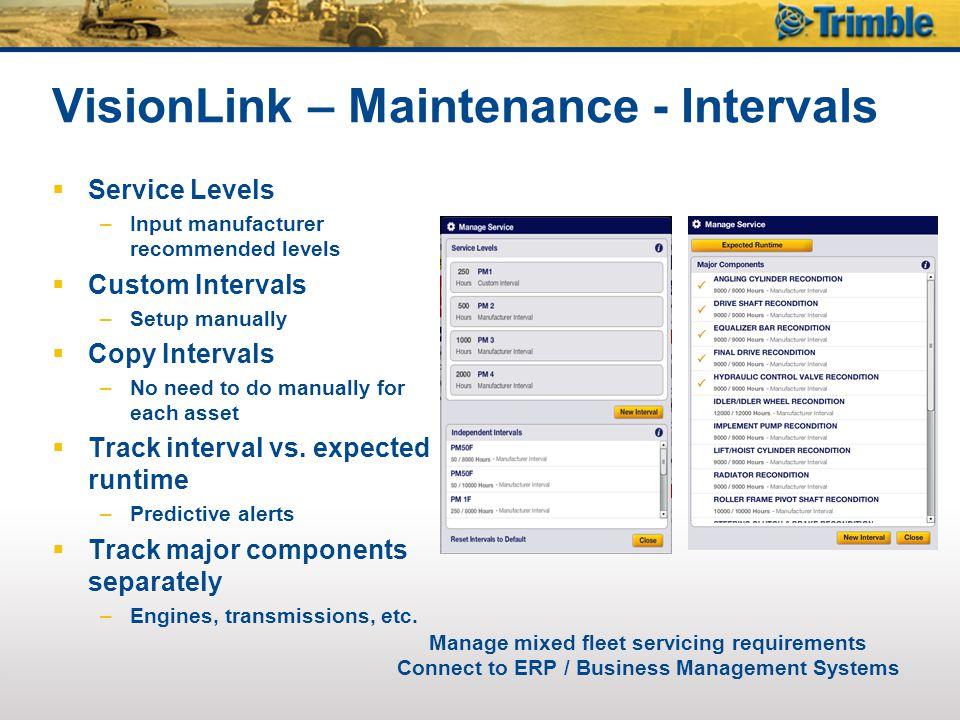 VisionLink – Maintenance - Intervals  Service Levels –Input manufacturer recommended levels  Custom Intervals –Setup manually  Copy Intervals –No n