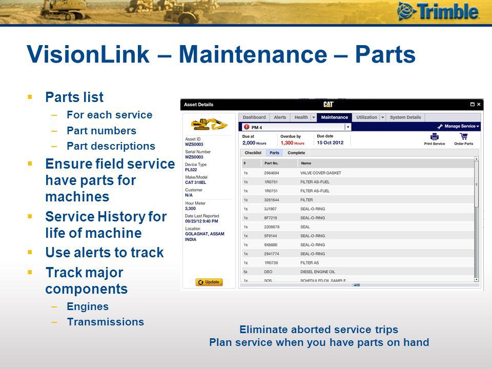 VisionLink – Maintenance – Parts  Parts list –For each service –Part numbers –Part descriptions  Ensure field service have parts for machines  Serv