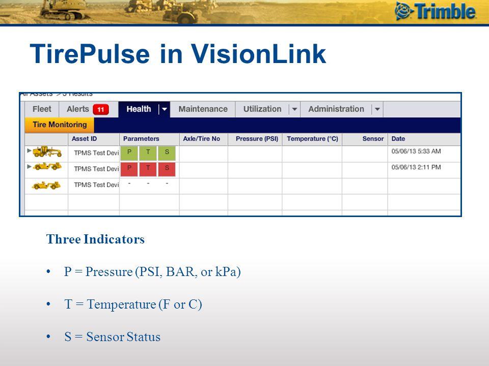 Three Indicators P = Pressure (PSI, BAR, or kPa) T = Temperature (F or C) S = Sensor Status TirePulse in VisionLink