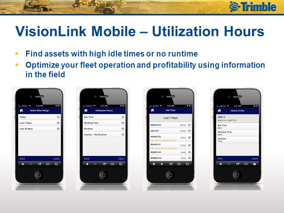 VisionLink Mobile – Utilization Hours  Find assets with high idle times or no runtime  Optimize your fleet operation and profitability using information in the field
