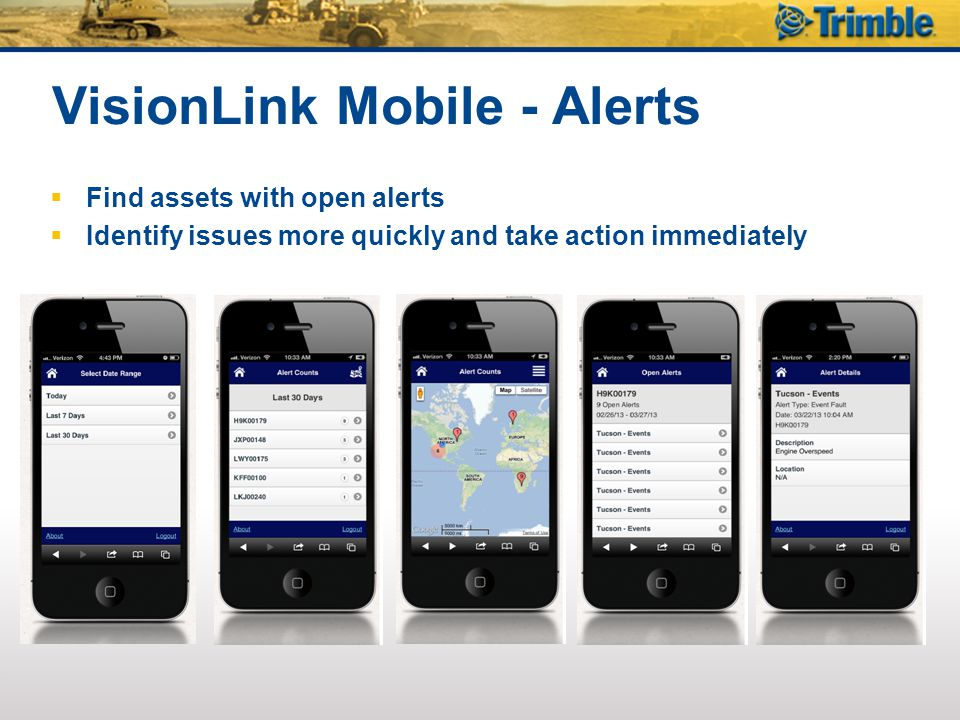 VisionLink Mobile - Alerts  Find assets with open alerts  Identify issues more quickly and take action immediately