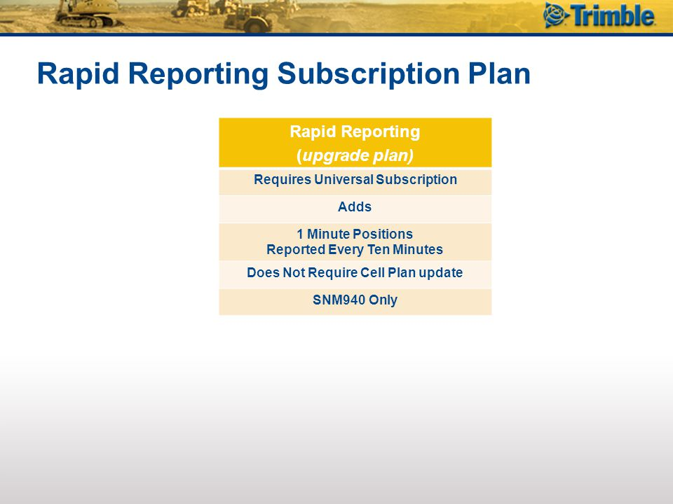 Rapid Reporting Subscription Plan Rapid Reporting (upgrade plan) Requires Universal Subscription Adds 1 Minute Positions Reported Every Ten Minutes Does Not Require Cell Plan update SNM940 Only