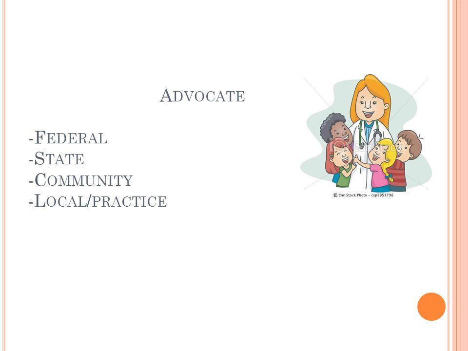 A DVOCATE -F EDERAL -S TATE -C OMMUNITY -L OCAL / PRACTICE