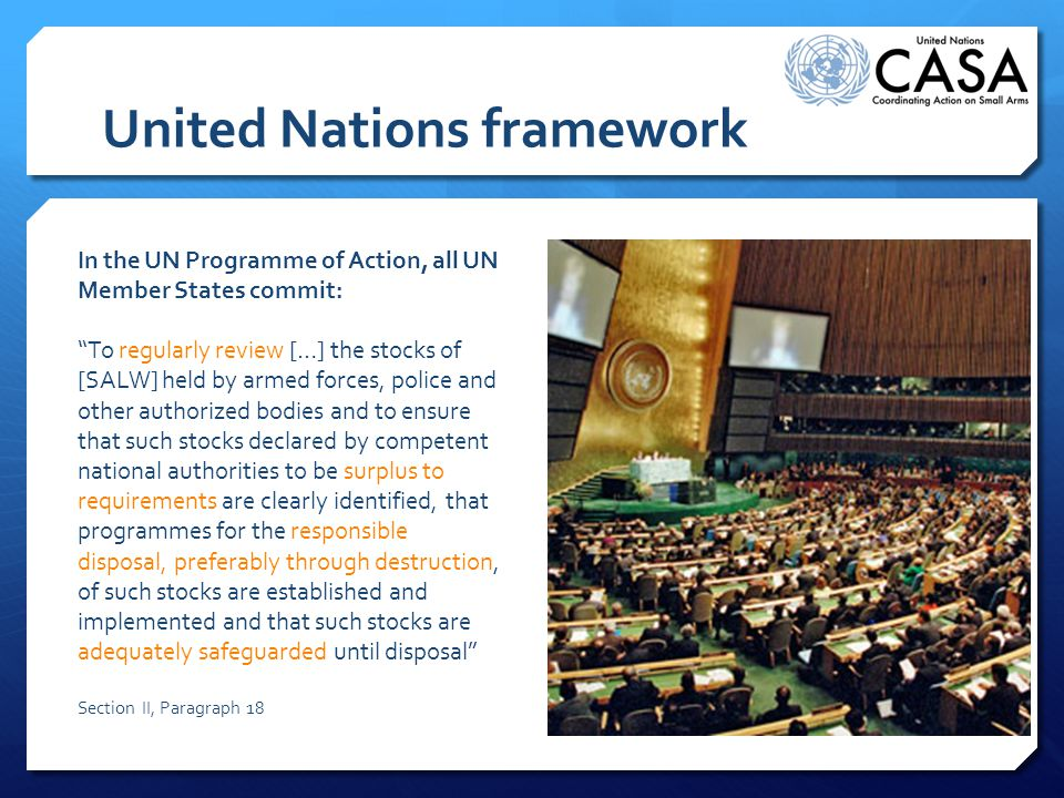 United Nations framework In the UN Programme of Action, all UN Member States commit: To regularly review […] the stocks of [SALW] held by armed forces, police and other authorized bodies and to ensure that such stocks declared by competent national authorities to be surplus to requirements are clearly identified, that programmes for the responsible disposal, preferably through destruction, of such stocks are established and implemented and that such stocks are adequately safeguarded until disposal Section II, Paragraph 18