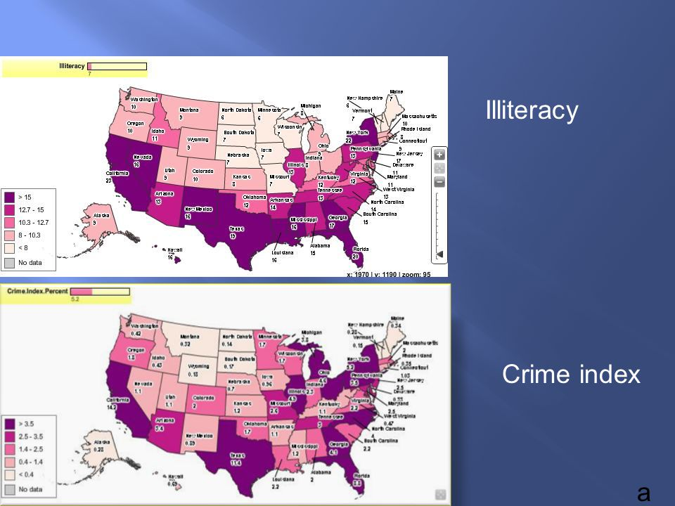 a Illiteracy Crime index