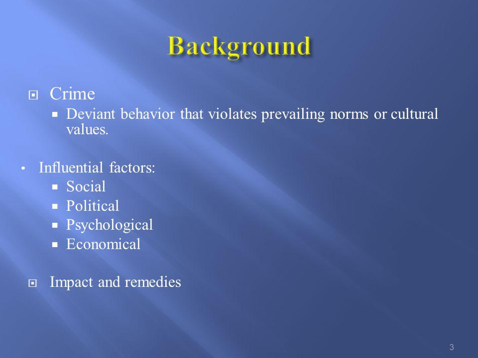  Crime  Deviant behavior that violates prevailing norms or cultural values.