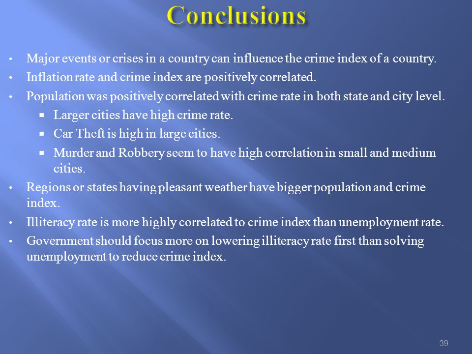 Major events or crises in a country can influence the crime index of a country.