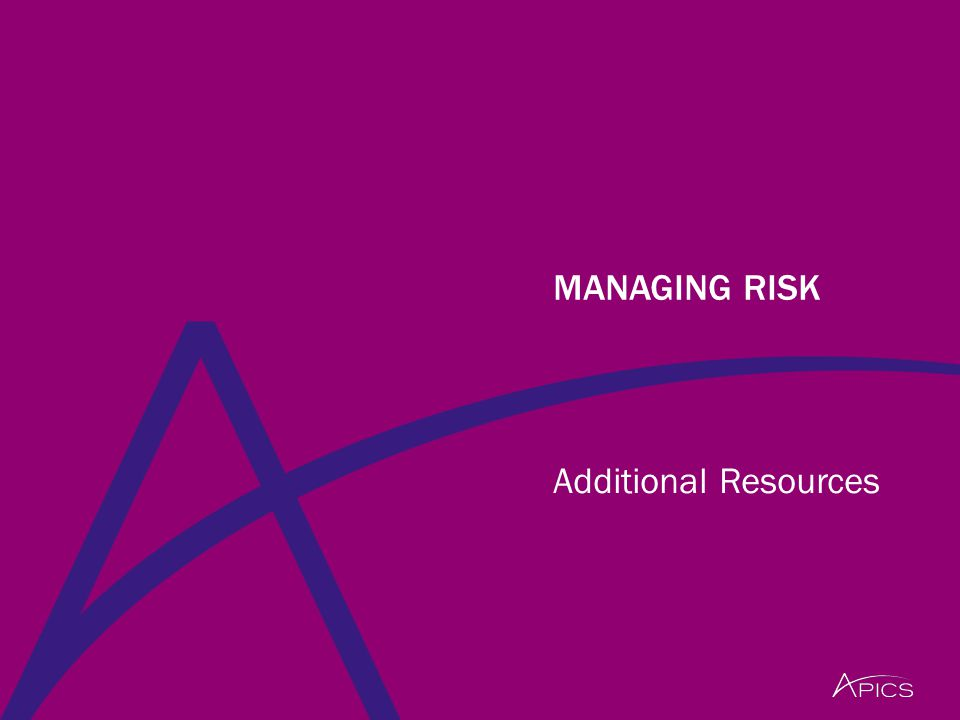 Additional Resources MANAGING RISK
