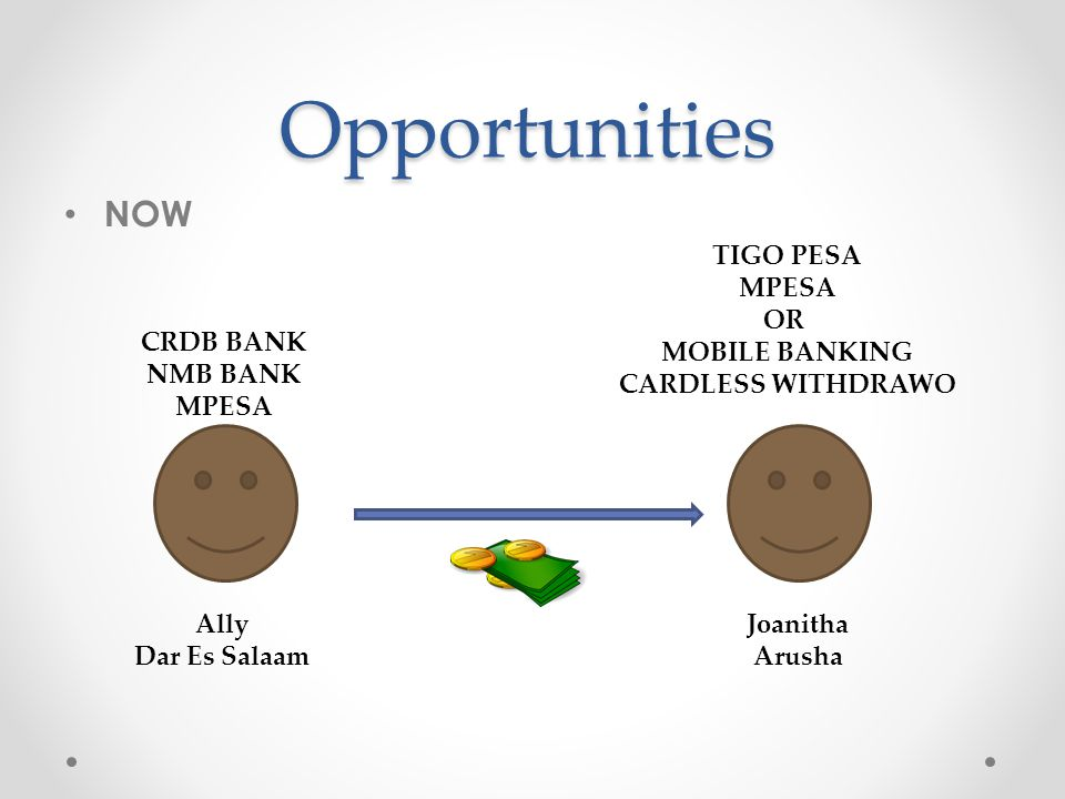 Opportunities NOW Ally Dar Es Salaam Joanitha Arusha CRDB BANK NMB BANK MPESA TIGO PESA MPESA OR MOBILE BANKING CARDLESS WITHDRAWO