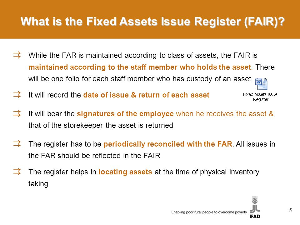 What is the Fixed Assets Issue Register (FAIR).