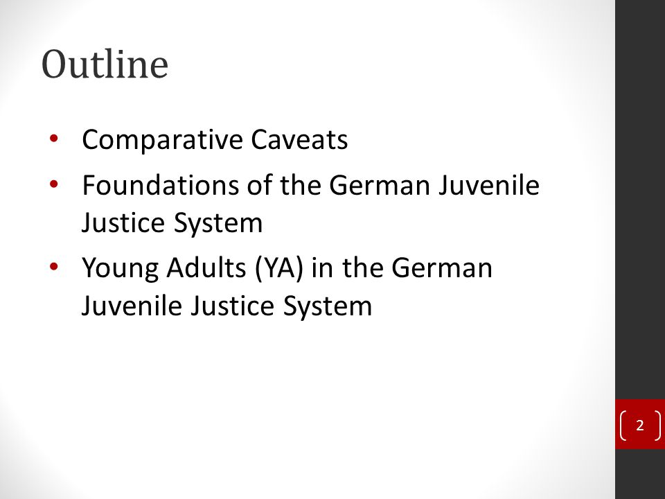 Outline Comparative Caveats Foundations of the German Juvenile Justice System Young Adults (YA) in the German Juvenile Justice System 2