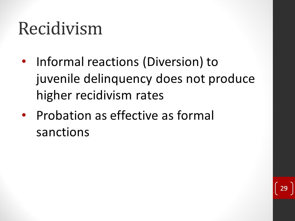 Recidivism Informal reactions (Diversion) to juvenile delinquency does not produce higher recidivism rates Probation as effective as formal sanctions 29