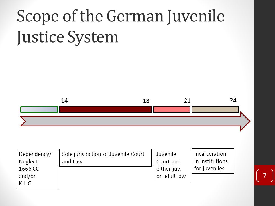 Scope of the German Juvenile Justice System 7 14 18 21 24 Dependency/ Neglect 1666 CC and/or KJHG Sole jurisdiction of Juvenile Court and Law Juvenile