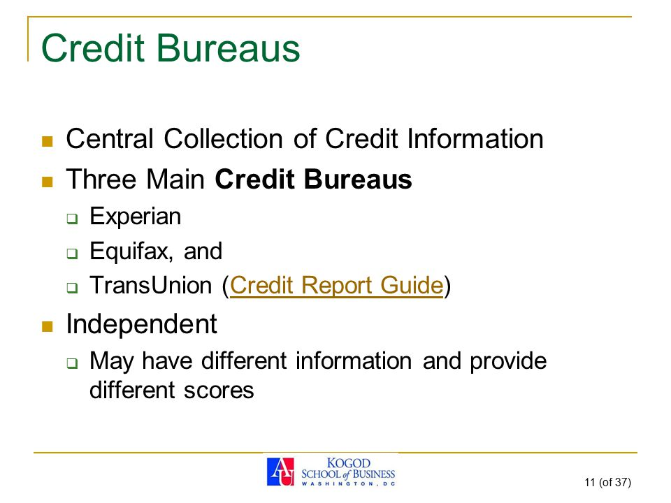 11 (of 37) Credit Bureaus Central Collection of Credit Information Three Main Credit Bureaus  Experian  Equifax, and  TransUnion (Credit Report Gui