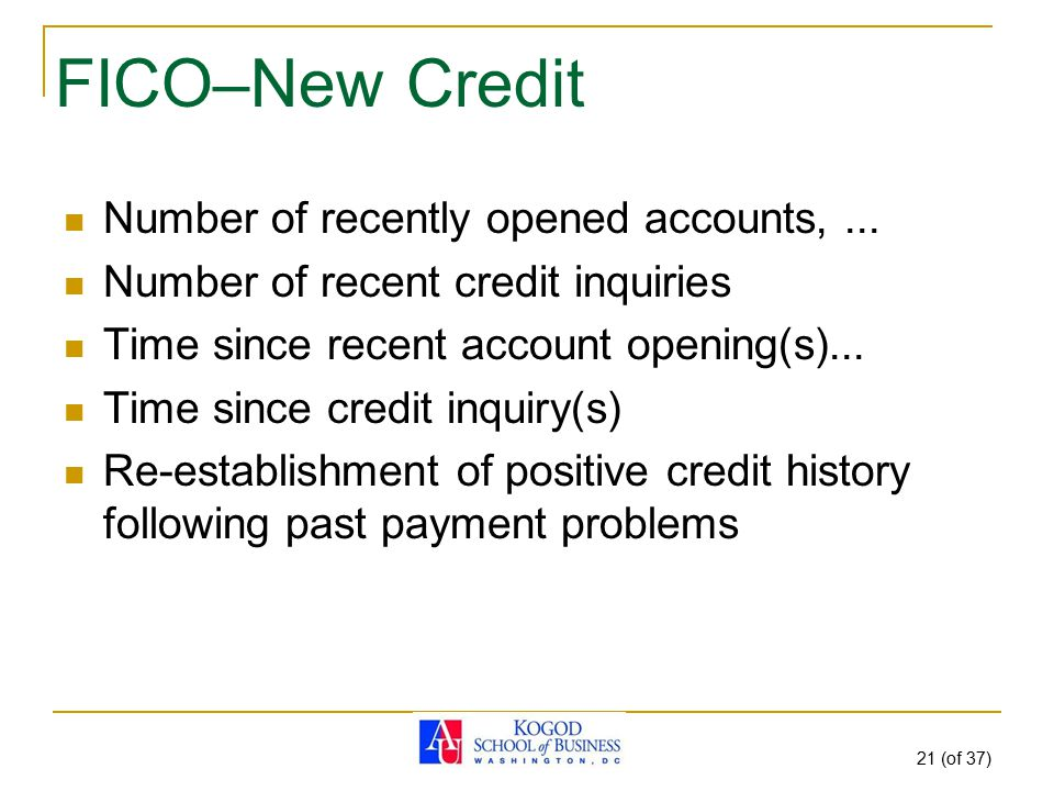 21 (of 37) FICO–New Credit Number of recently opened accounts,... Number of recent credit inquiries Time since recent account opening(s)... Time since