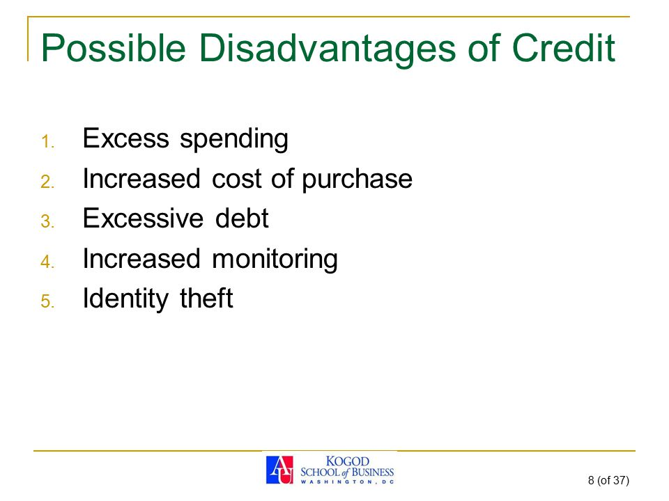 8 (of 37) Possible Disadvantages of Credit 1. Excess spending 2. Increased cost of purchase 3. Excessive debt 4. Increased monitoring 5. Identity thef
