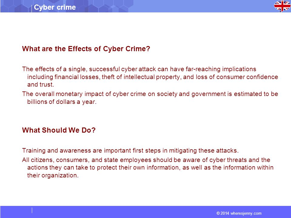 © 2014 wheresjenny.com Cyber crime What are the Effects of Cyber Crime.
