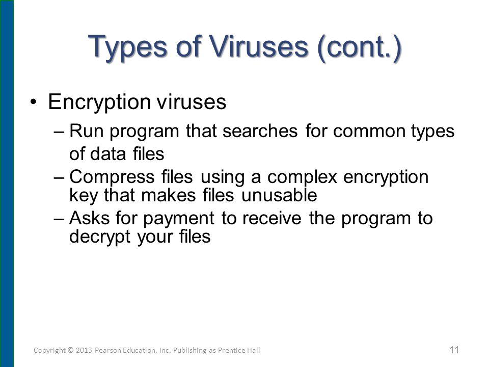 Types of Viruses (cont.) Encryption viruses –Run program that searches for common types of data files –Compress files using a complex encryption key t