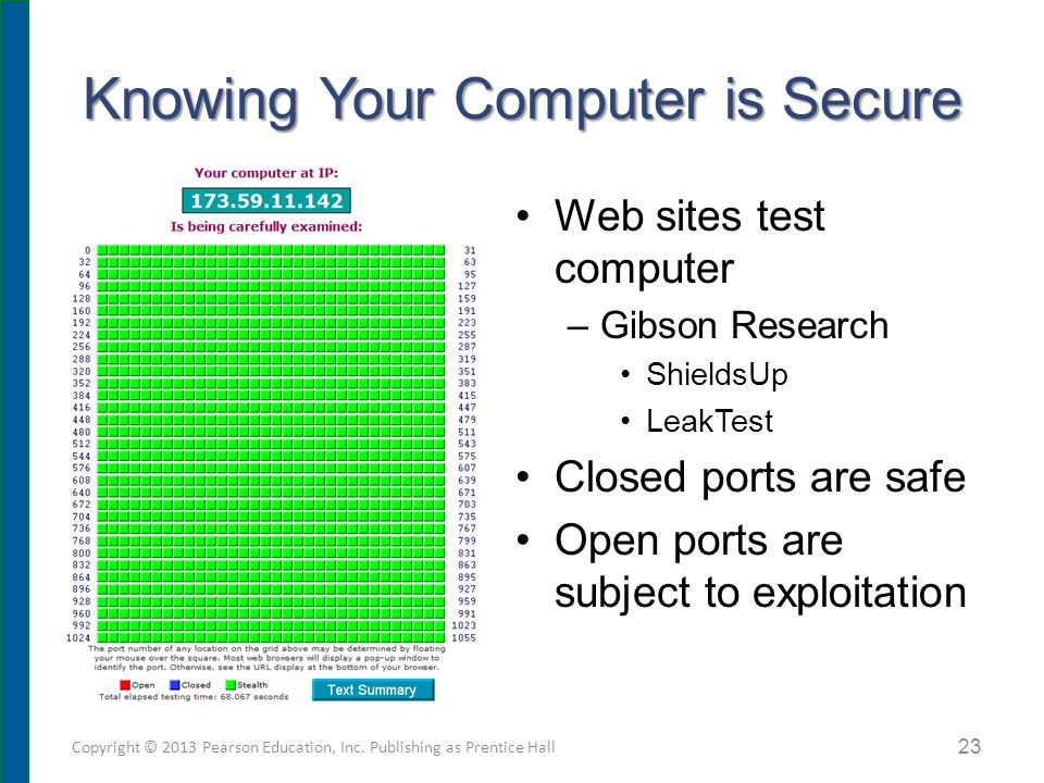 Knowing Your Computer is Secure Web sites test computer –Gibson Research ShieldsUp LeakTest Closed ports are safe Open ports are subject to exploitation Copyright © 2013 Pearson Education, Inc.