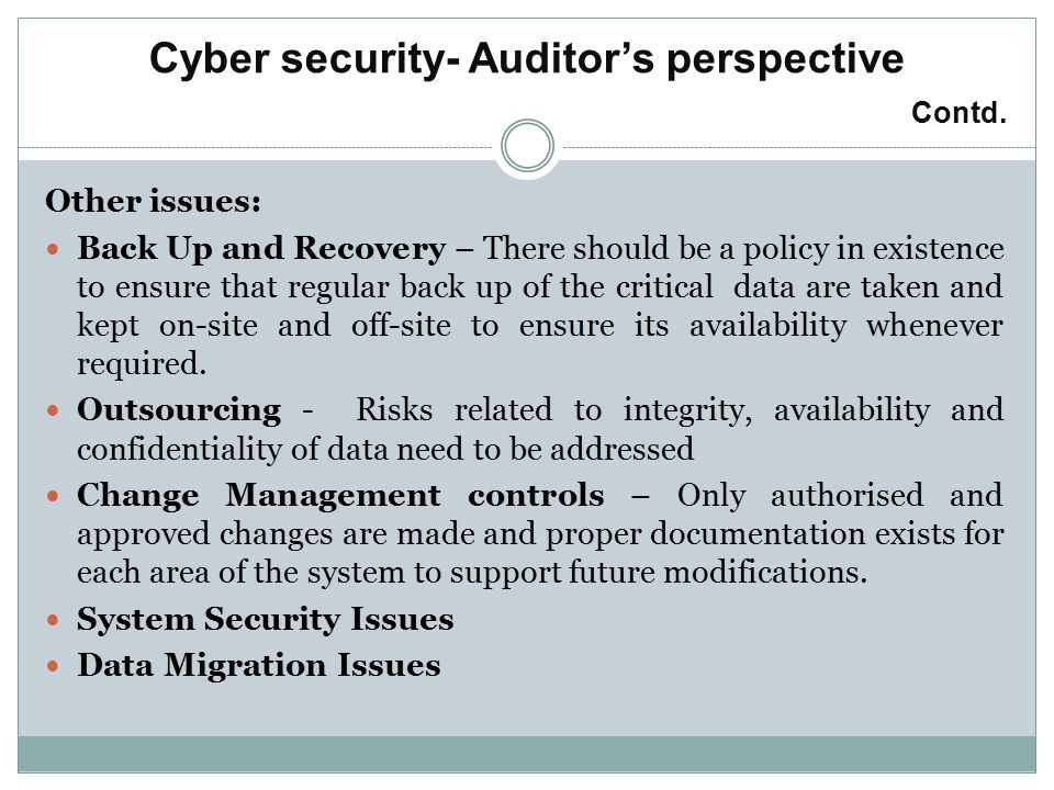 Cyber security- Auditor's perspective Contd.