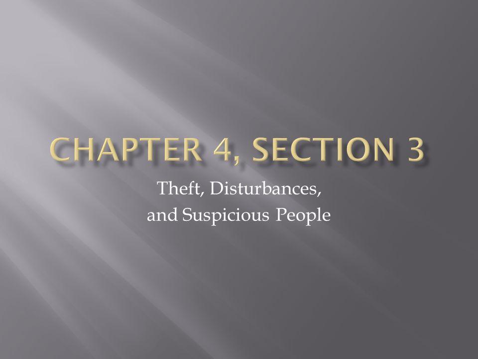 Theft, Disturbances, and Suspicious People