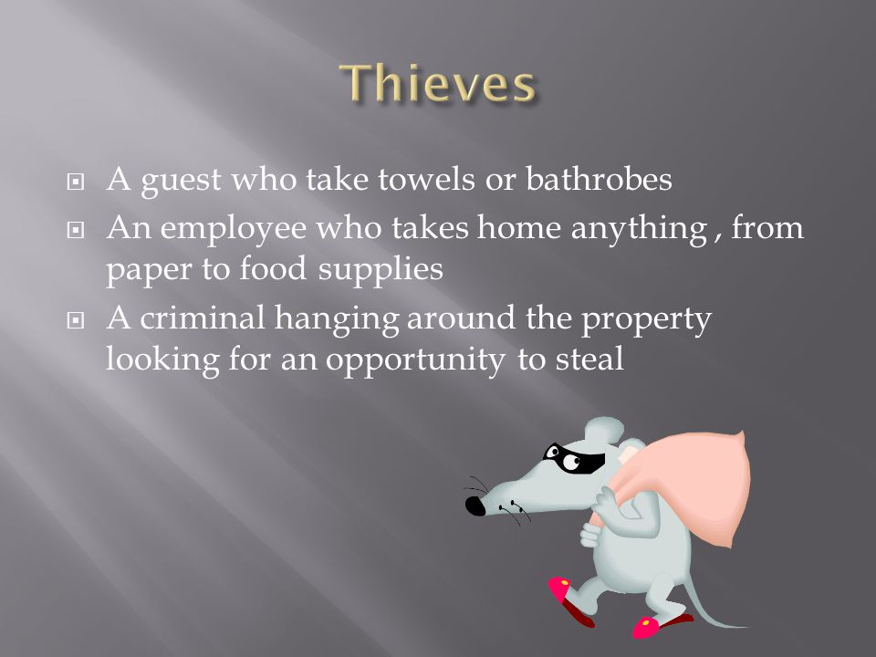  A guest who take towels or bathrobes  An employee who takes home anything, from paper to food supplies  A criminal hanging around the property loo