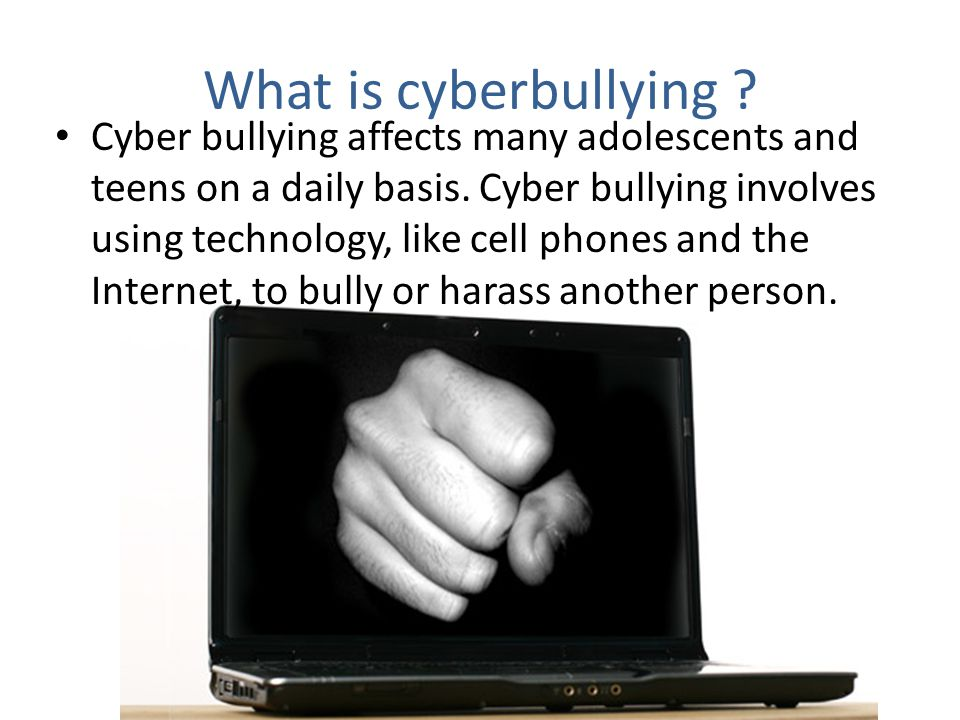 Cyber bullying can take many forms : Sending mean messages or threats to a person s email account or cell phone Spreading rumors online or through texts Posting hurtful or threatening messages on social networking sites or web pages Stealing a person s account information to break into their account and send fake messages Pretending to be someone else online to hurt another person Taking unflattering pictures of a person and spreading them through cell phones or the Internet circulating sexually suggestive pictures or messages about a person.
