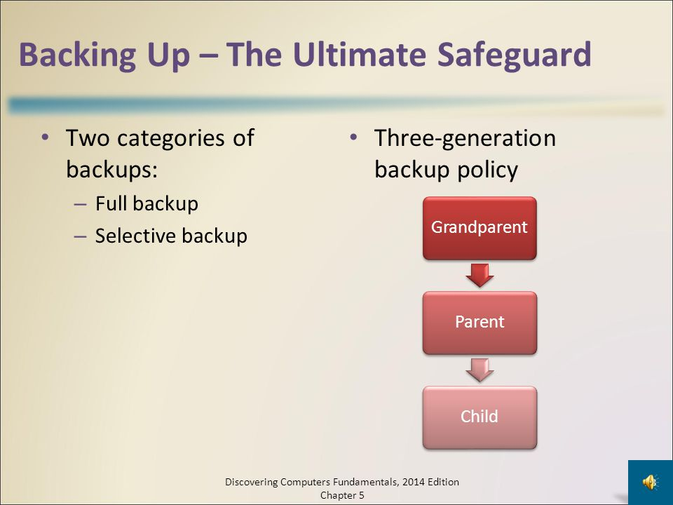 Backing Up – The Ultimate Safeguard A backup is a duplicate of a file, program, or disk that can be used if the original is lost, damaged, or destroye