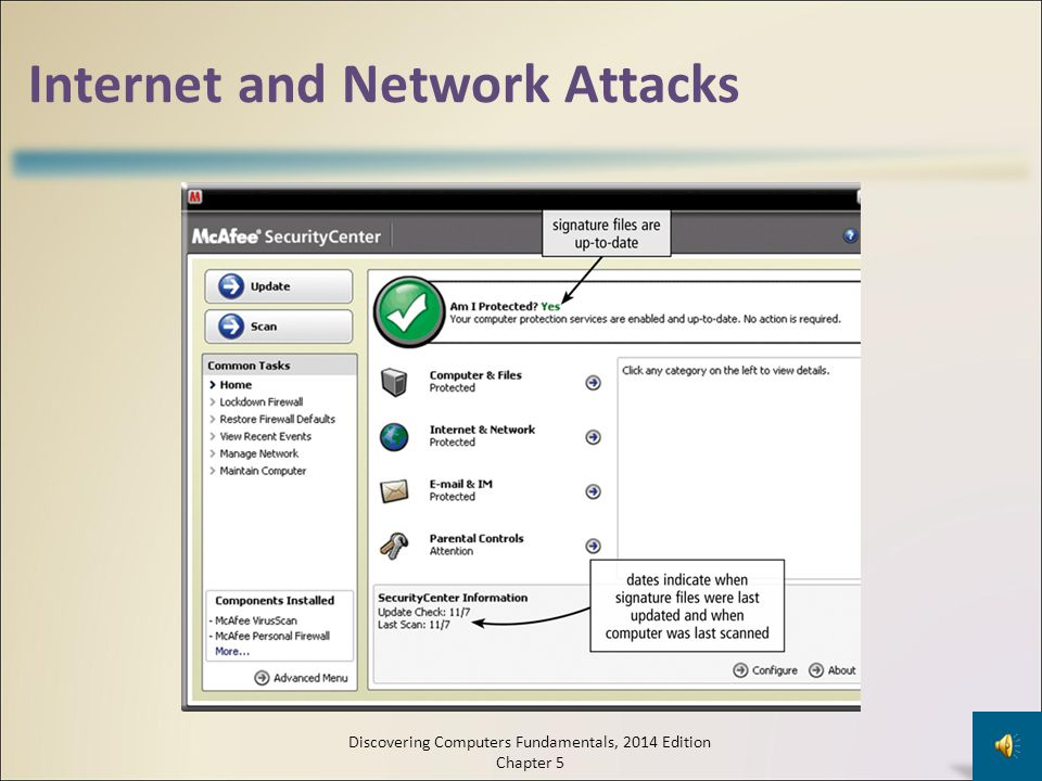 Wireless Security Wireless access poses additional security risks – About 80 percent of wireless networks have no security protection War driving allows individuals to detect wireless networks while driving a vehicle through the area Discovering Computers Fundamentals, 2014 Edition Chapter 5 29 A wireless access point should not broadcast a network name Change the default network name Configure a WAP so that only certain devices can access it Use WPA or WPA2 security standards