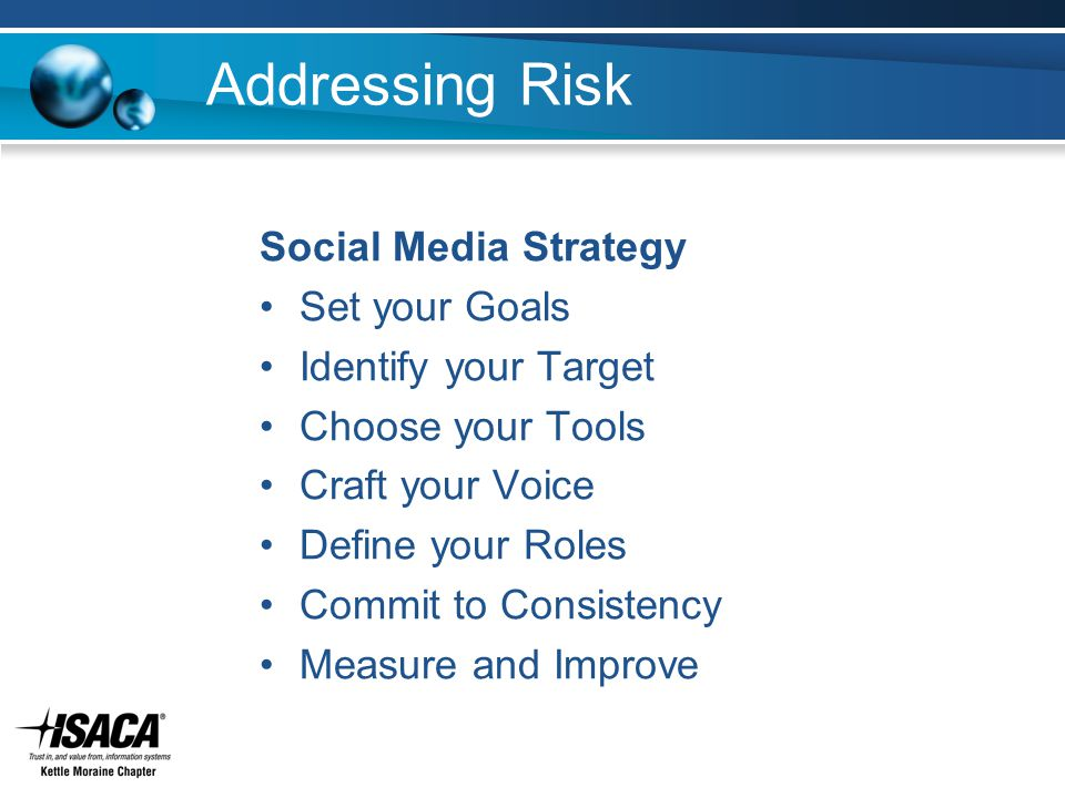 Addressing Risk Social Media Strategy Set your Goals Identify your Target Choose your Tools Craft your Voice Define your Roles Commit to Consistency M