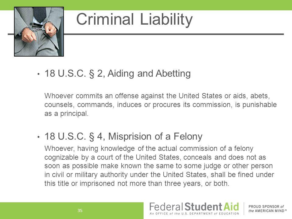 Criminal Liability 18 U.S.C.