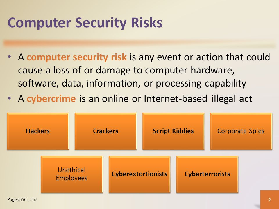Computer Security Risks A computer security risk is any event or action that could cause a loss of or damage to computer hardware, software, data, information, or processing capability A cybercrime is an online or Internet-based illegal act 2 Pages 556 - 557 HackersCrackersScript KiddiesCorporate Spies Unethical Employees CyberextortionistsCyberterrorists