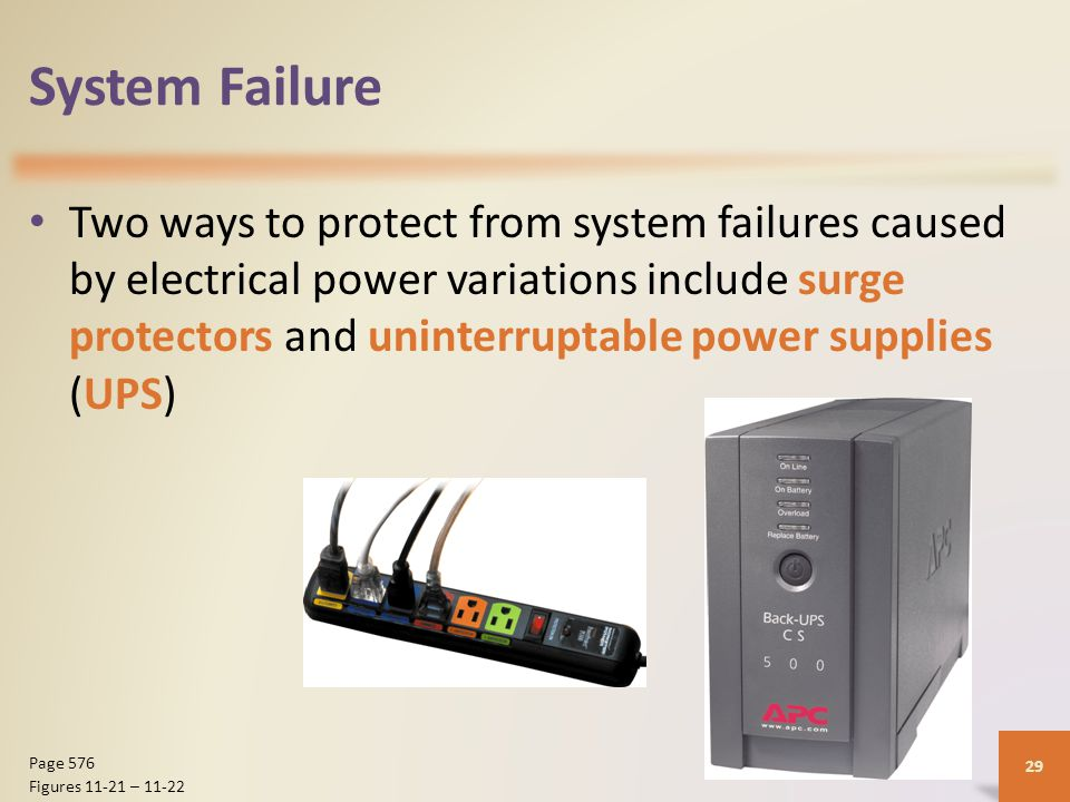 System Failure Two ways to protect from system failures caused by electrical power variations include surge protectors and uninterruptable power supplies (UPS) 29 Page 576 Figures 11-21 – 11-22