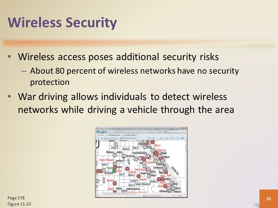 Wireless Security Wireless access poses additional security risks – About 80 percent of wireless networks have no security protection War driving allows individuals to detect wireless networks while driving a vehicle through the area 32 Page 578 Figure 11-23