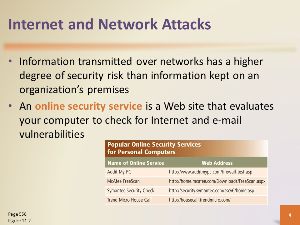 Internet and Network Attacks Information transmitted over networks has a higher degree of security risk than information kept on an organization's premises An online security service is a Web site that evaluates your computer to check for Internet and e-mail vulnerabilities 4 Page 558 Figure 11-2