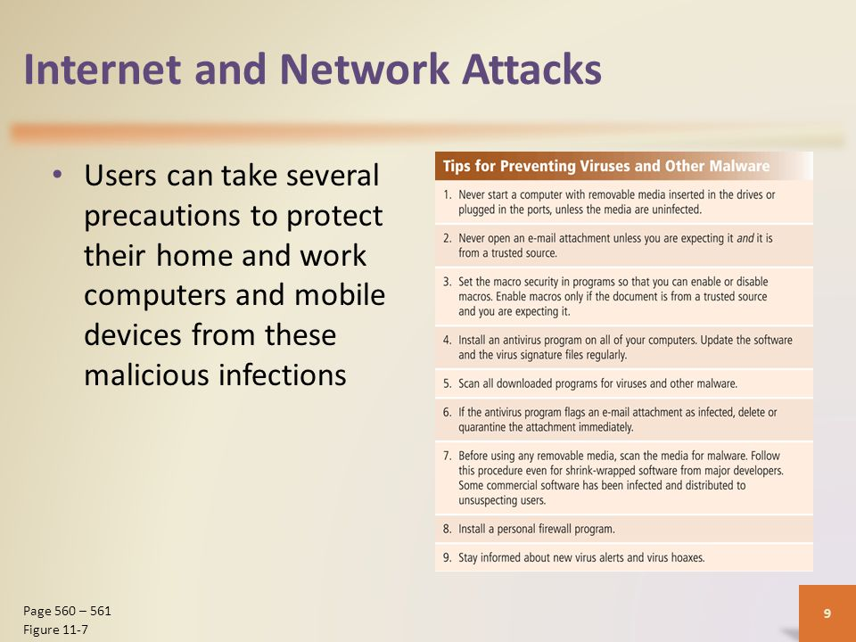 Internet and Network Attacks Users can take several precautions to protect their home and work computers and mobile devices from these malicious infections 9 Page 560 – 561 Figure 11-7