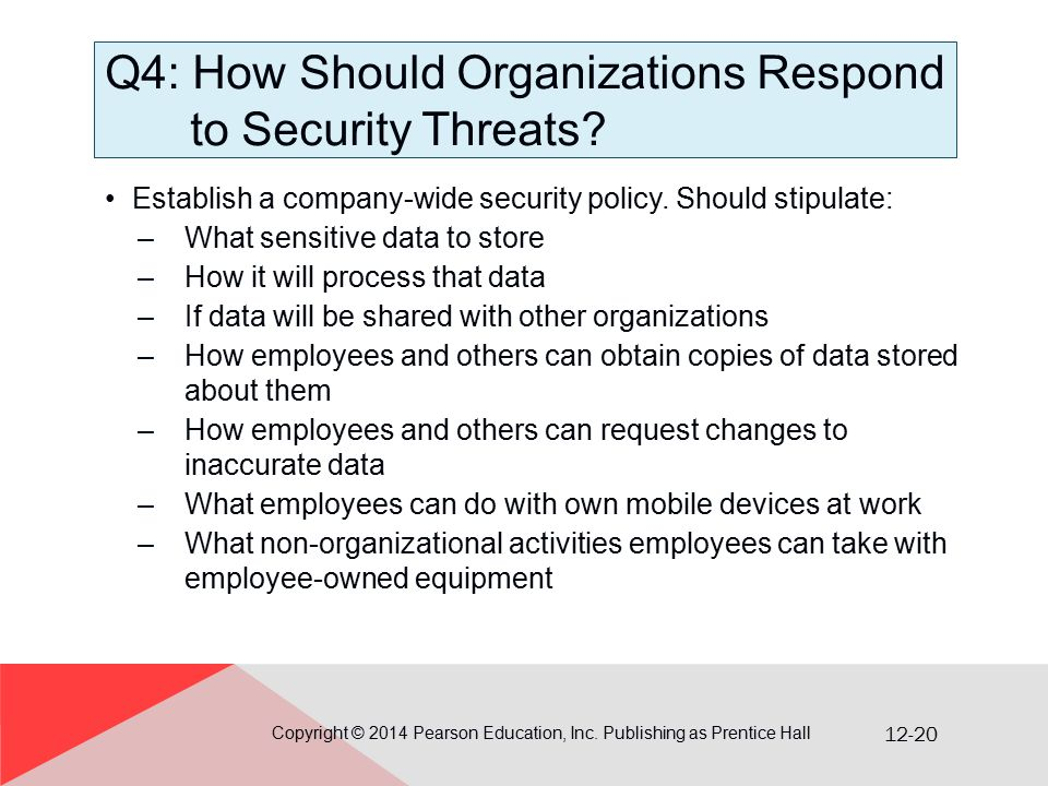 12-20 Q4: How Should Organizations Respond to Security Threats? Establish a company-wide security policy. Should stipulate: –What sensitive data to st