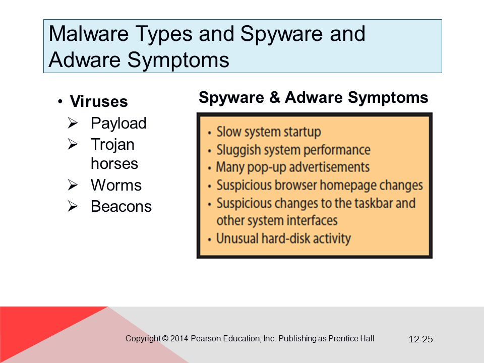 12-25 Malware Types and Spyware and Adware Symptoms Viruses  Payload  Trojan horses  Worms  Beacons Copyright © 2014 Pearson Education, Inc.