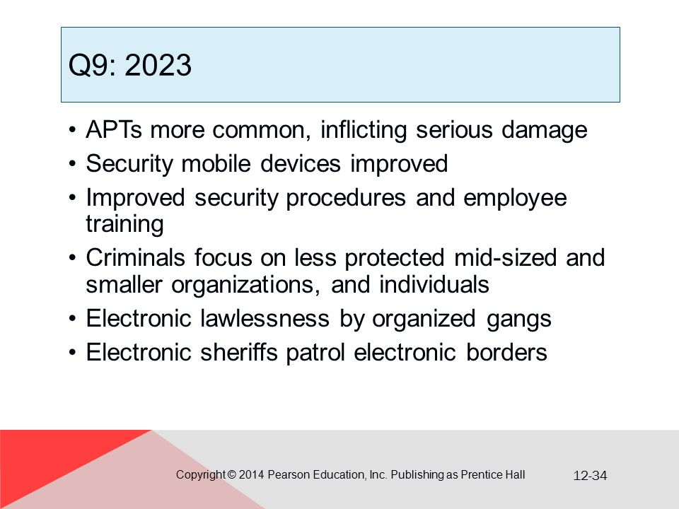 12-34 Q9: 2023 APTs more common, inflicting serious damage Security mobile devices improved Improved security procedures and employee training Crimina