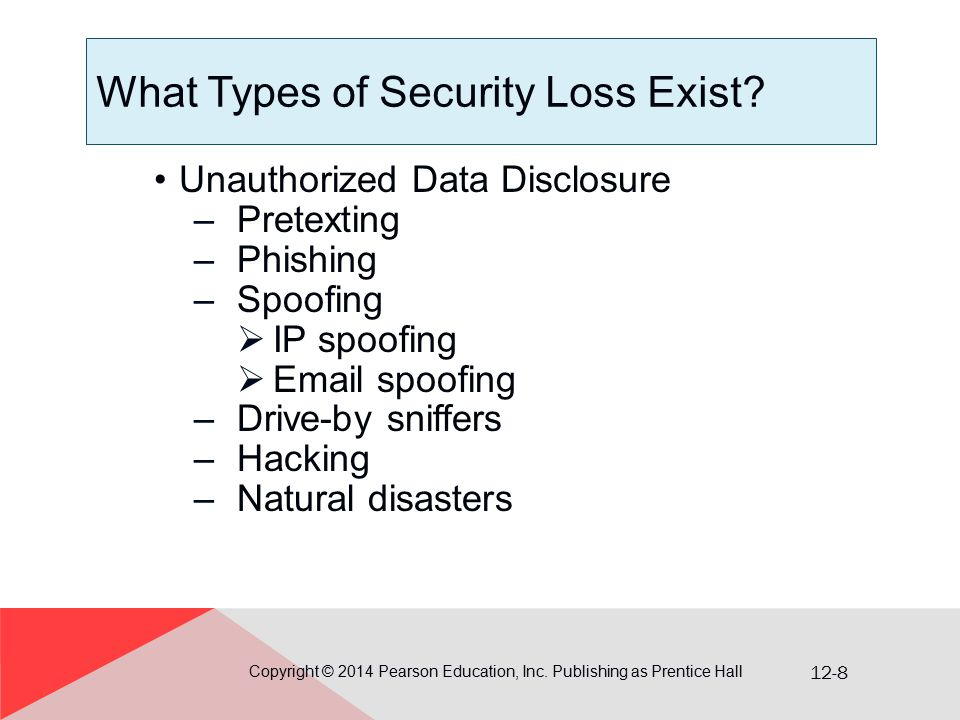 12-8 What Types of Security Loss Exist? Unauthorized Data Disclosure –Pretexting –Phishing –Spoofing  IP spoofing  Email spoofing –Drive-by sniffers