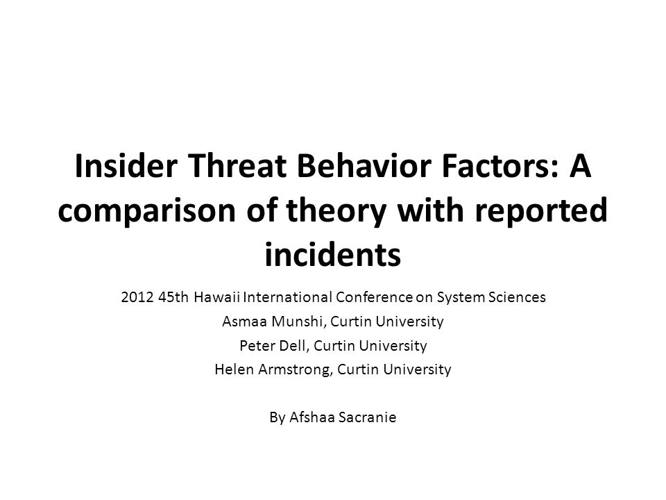 Insider Threat Behavior Factors: A comparison of theory with reported incidents 2012 45th Hawaii International Conference on System Sciences Asmaa Munshi, Curtin University Peter Dell, Curtin University Helen Armstrong, Curtin University By Afshaa Sacranie