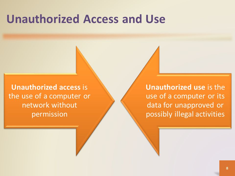 Unauthorized Access and Use Organizations take several measures to help prevent unauthorized access and use – Acceptable use policy – Disable file and printer sharing – Firewalls – Intrusion detection software 9